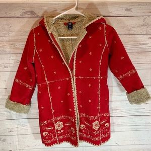 GAP kids S 6/7 leather Sherpa fleece jacket